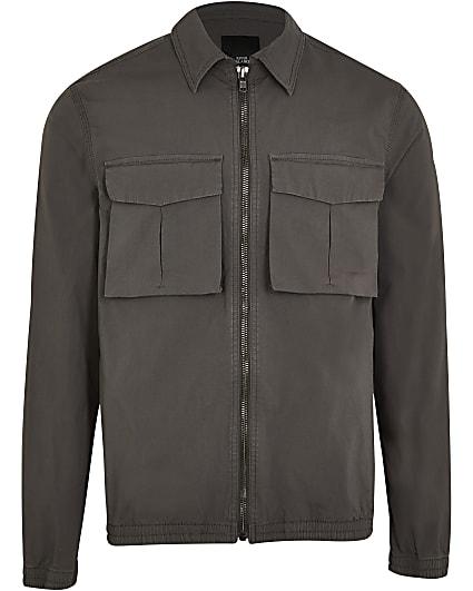 Grey regular fit chest pocket shacket