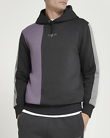 Grey regular fit colour block hoodie