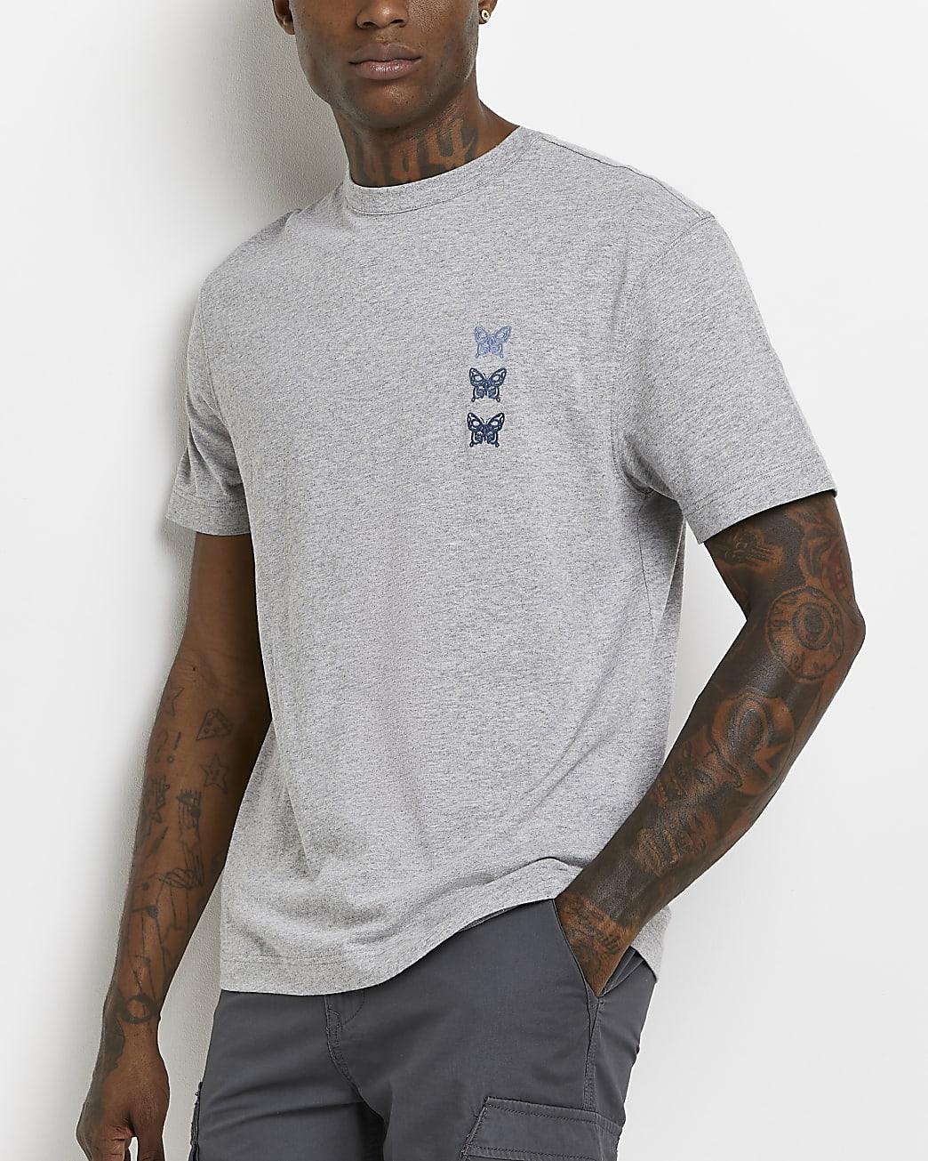 Grey regular fit graphic t-shirt
