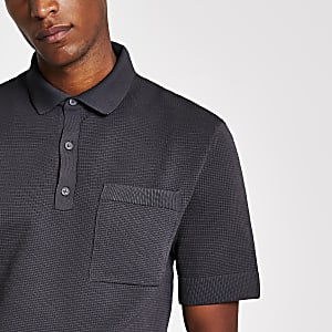 Grey regular fit knitted polo shirt