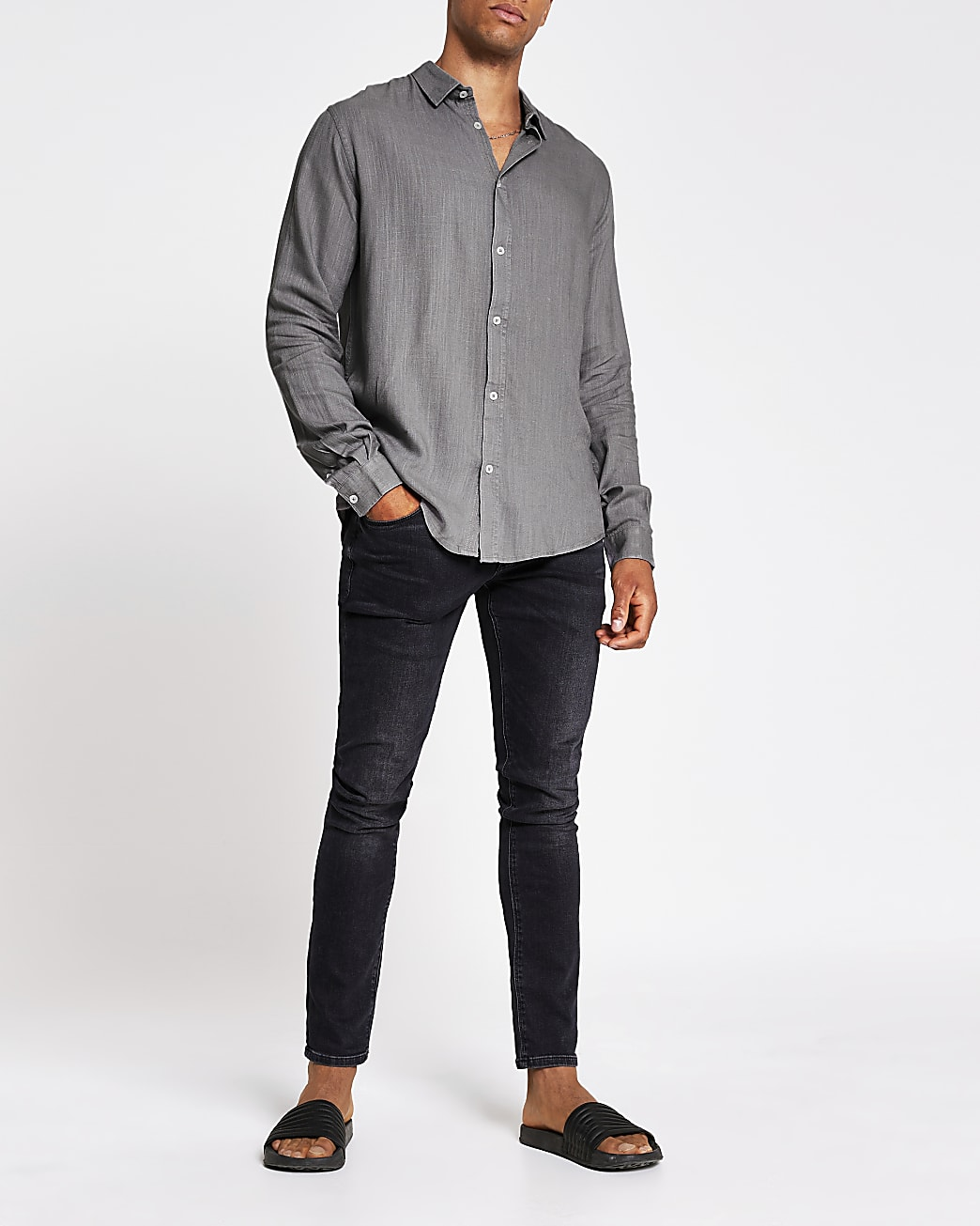 Grey regular fit linen long sleeve shirt