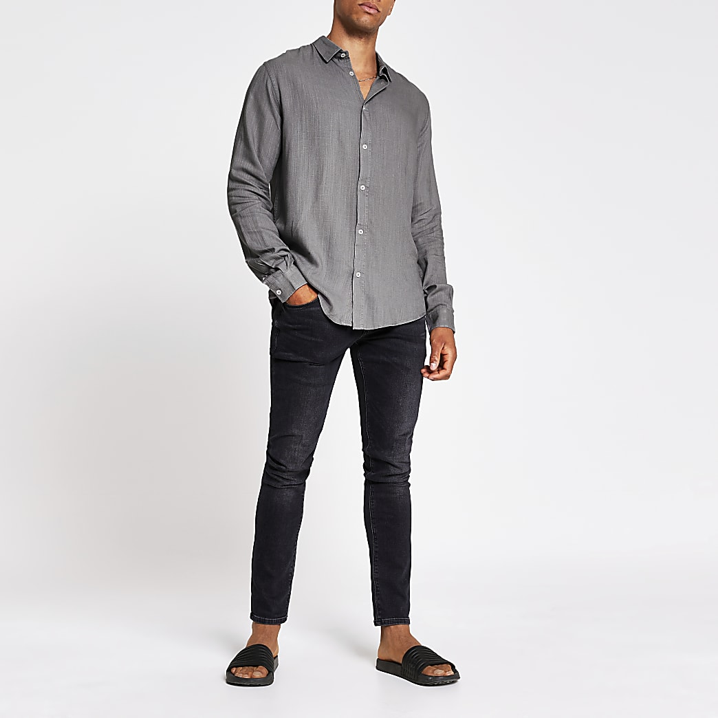 Grey regular fit linen long sleeve shirt