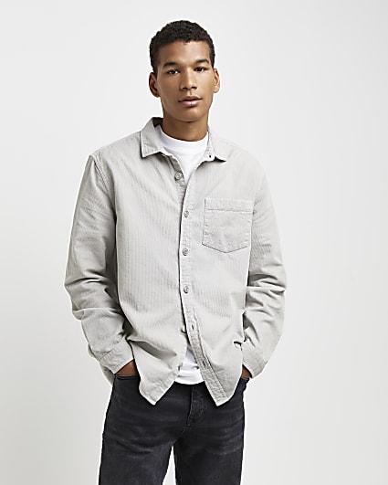 Grey regular fit long sleeve cord shirt
