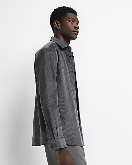 Grey regular fit long sleeve corduroy shirt