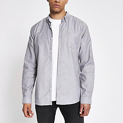 Grey regular fit long sleeve Oxford shirt