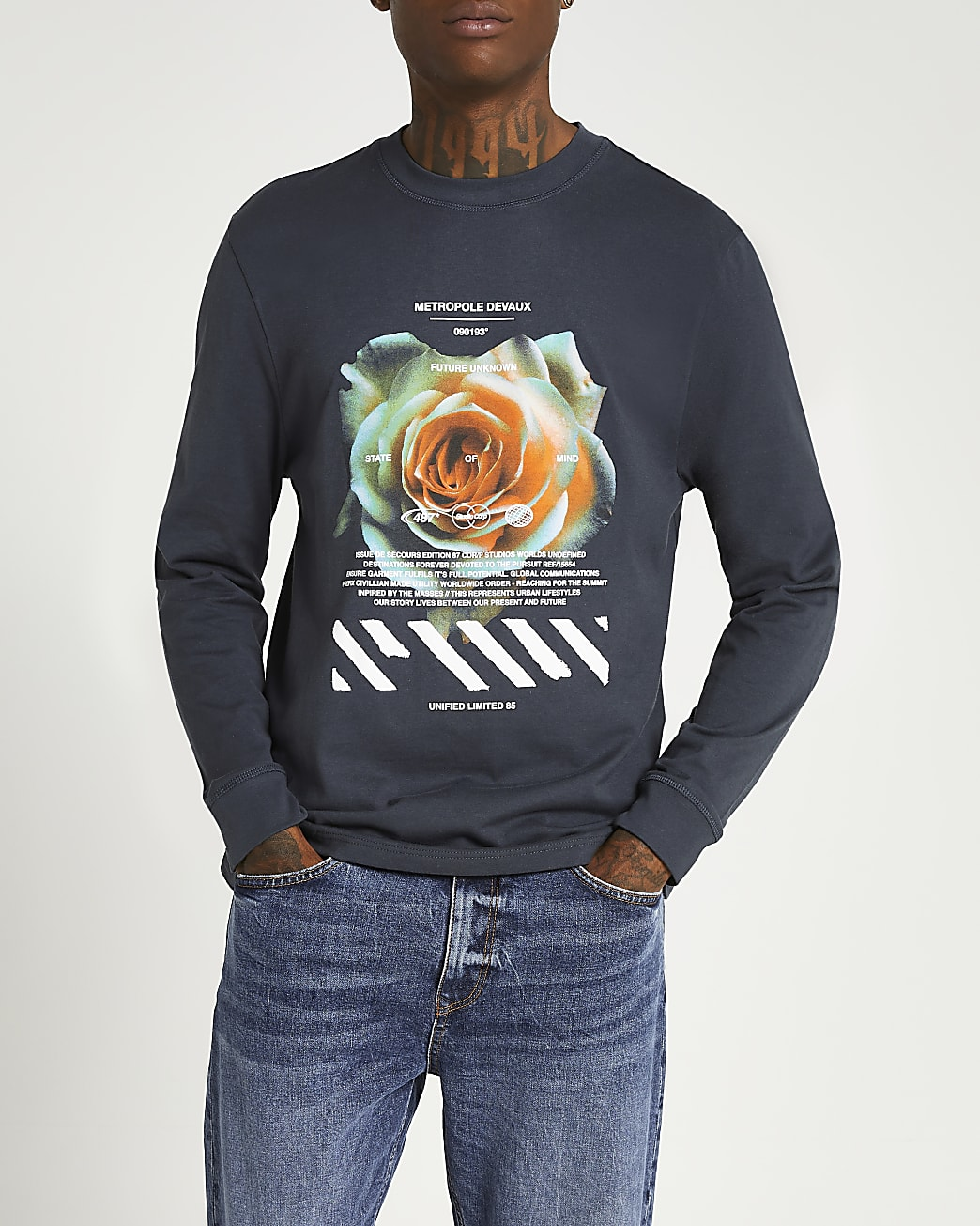 Grey regular fit long sleeve t-shirt