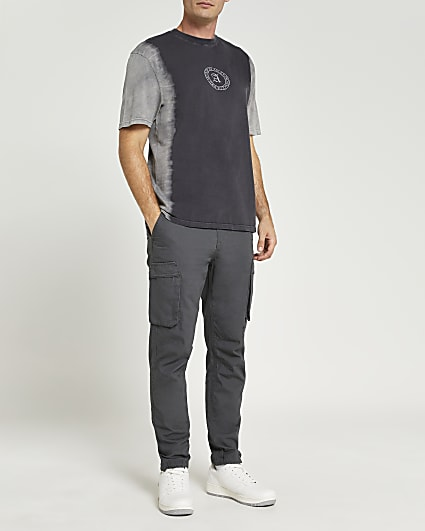 Grey regular fit tie dye graphic t-shirt