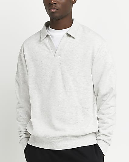 Grey regular fit v neck collar sweatshirt
