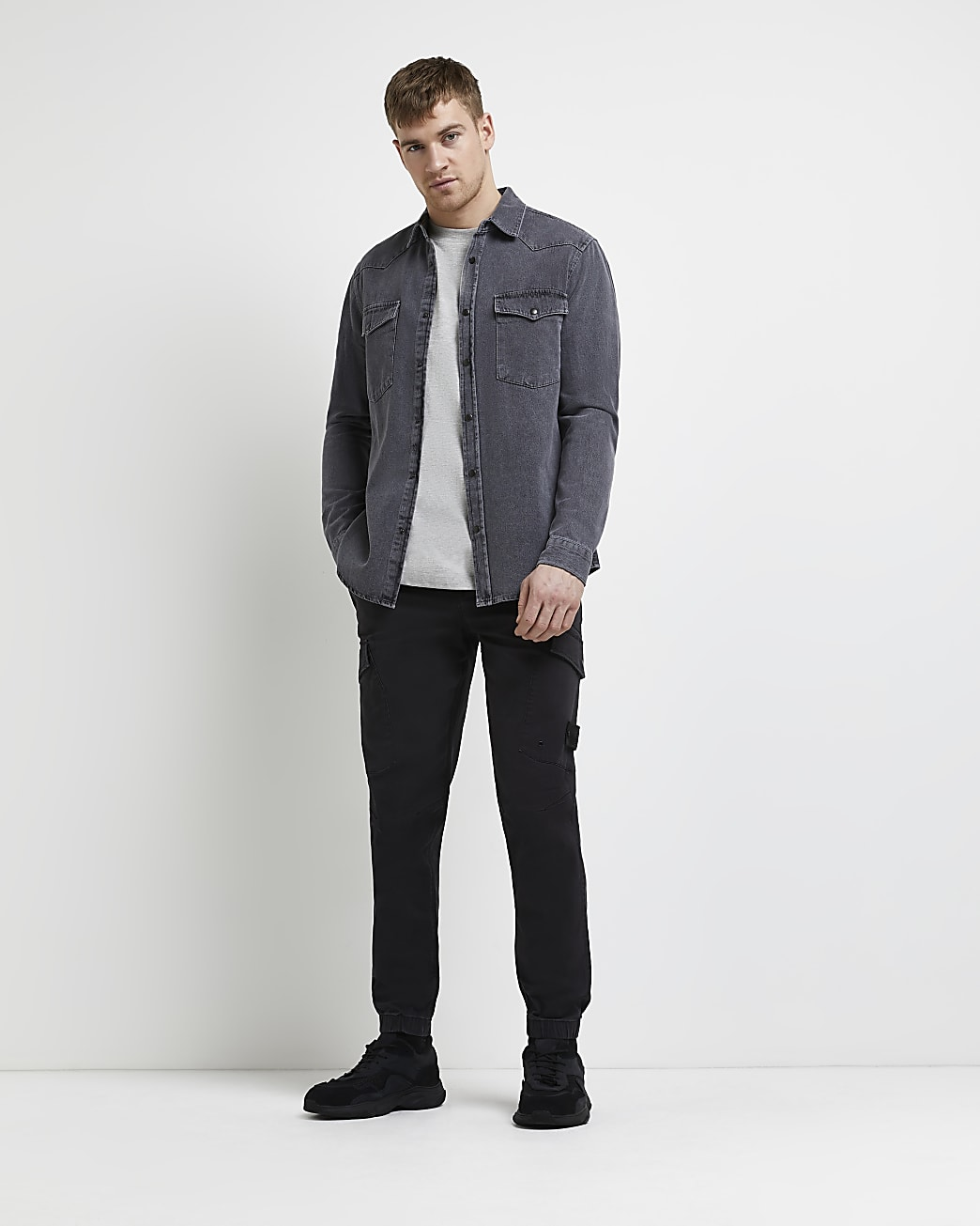 Grey regular fit western denim shirt
