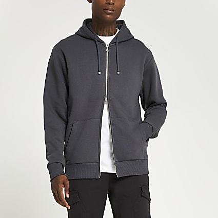 Grey regular fit zip through hoodie