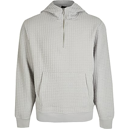 Grey regular long sleeve quilted hoody