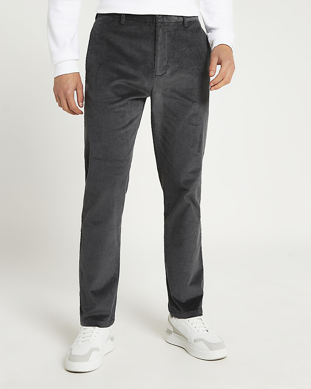 Grey relaxed fit cord trousers