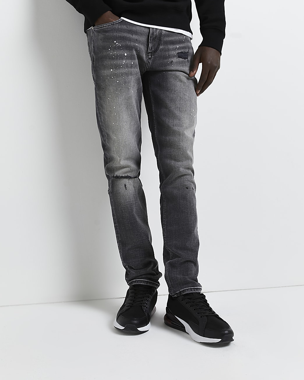 Grey relaxed skinny fit ripped paint jeans