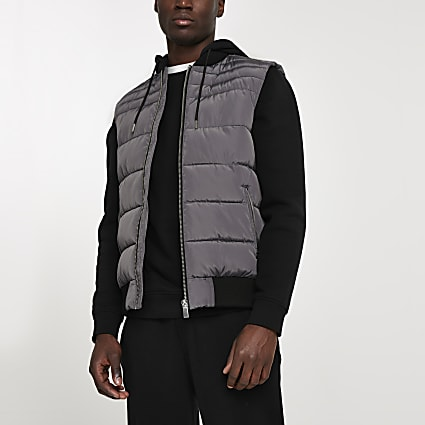 Grey removable hooded gilet