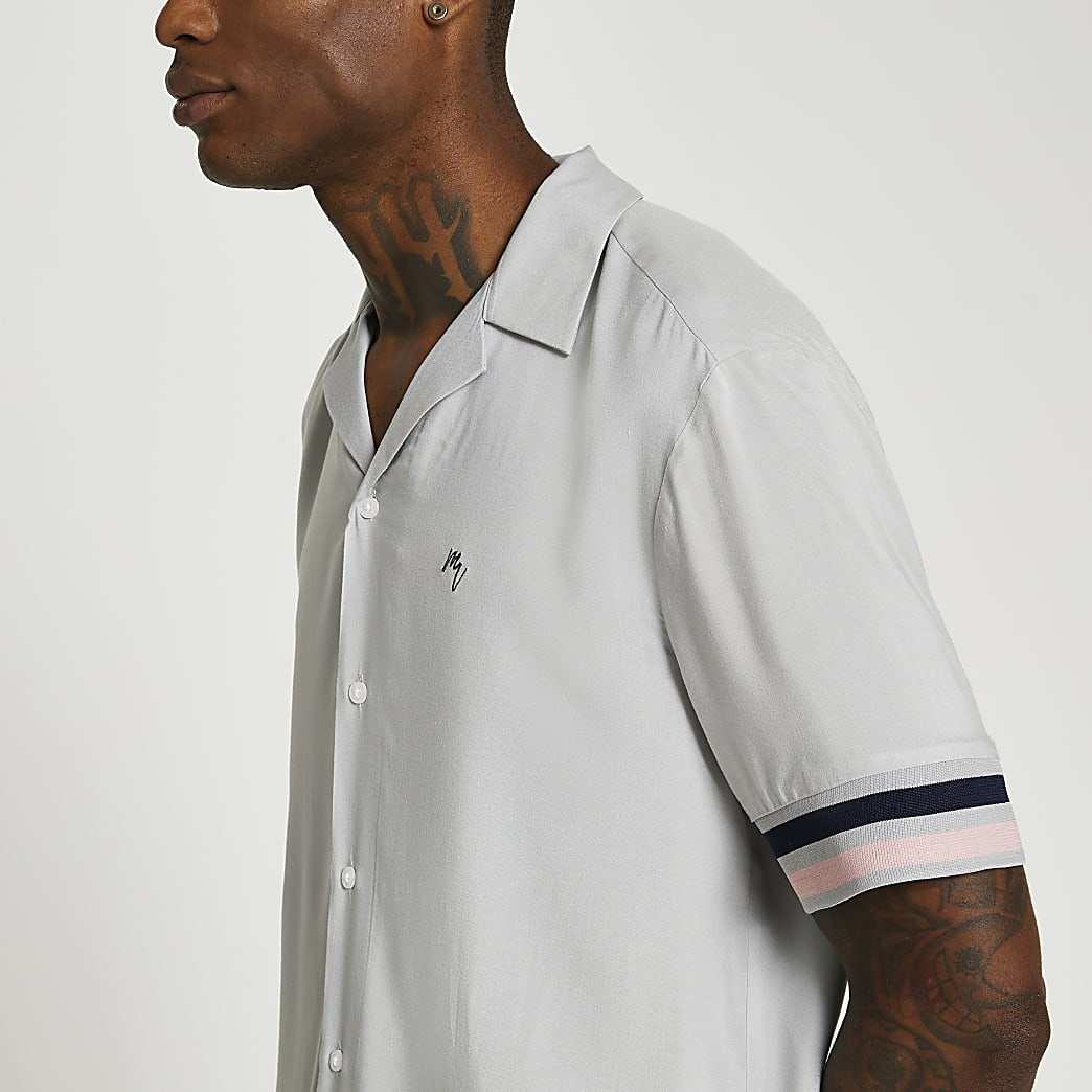 Grey resort revere short sleeve shirt
