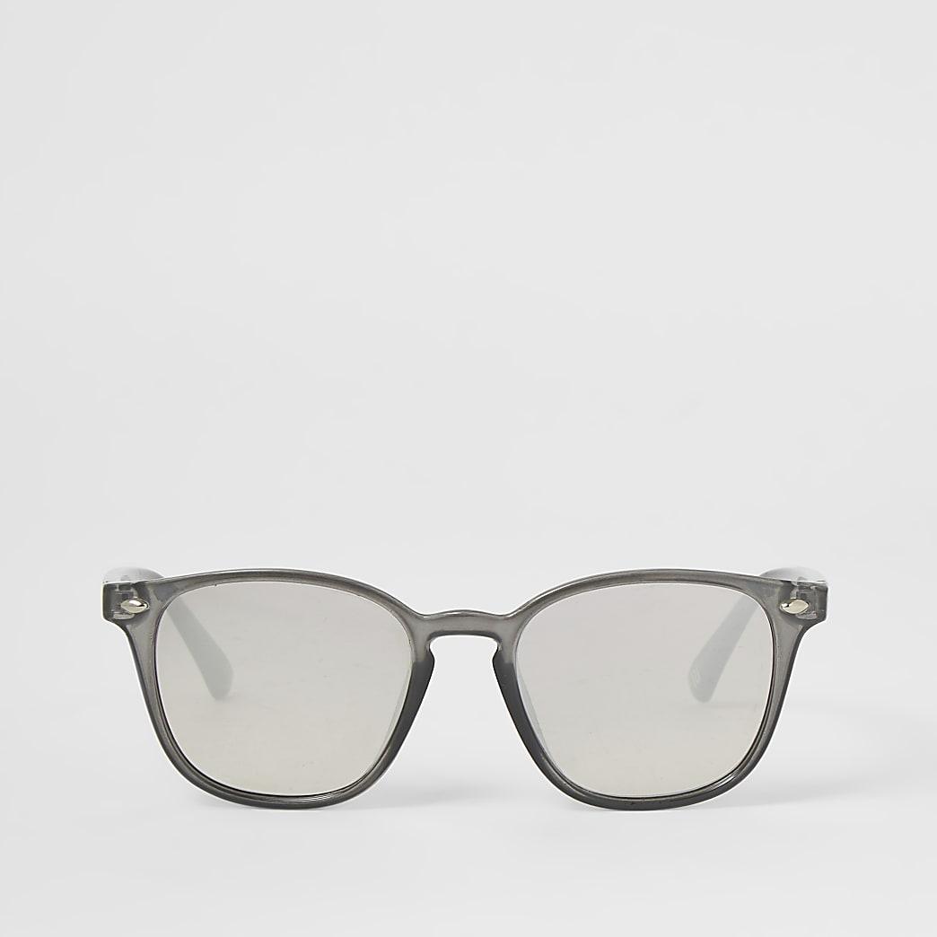 Grijze zonnebril met smal retro montuur