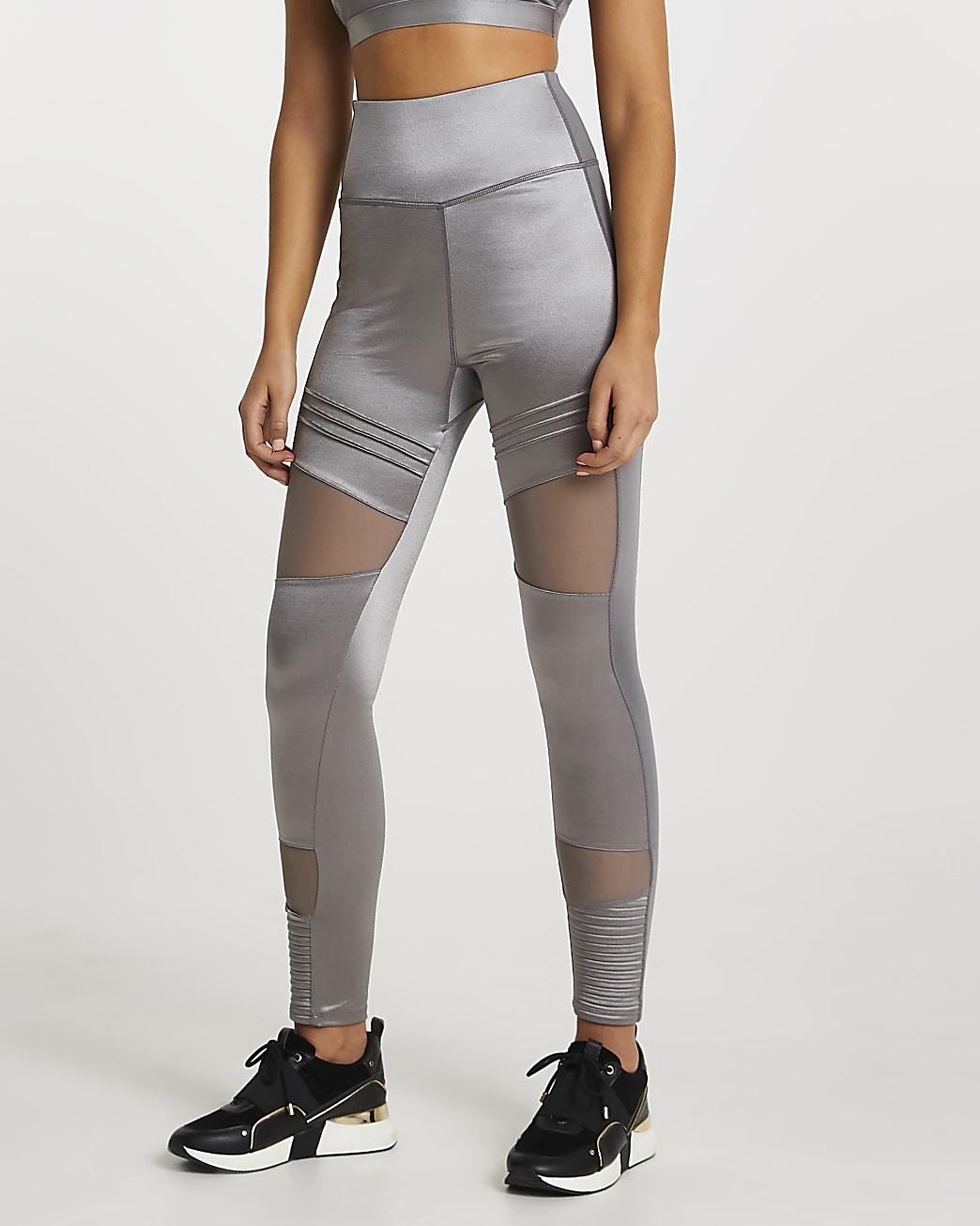 Grey RI Active mesh panelled leggings