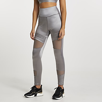 Grey RI Active mesh panelled leggings