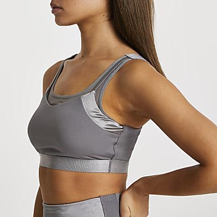 Grey RI Active mesh panelled sports bra