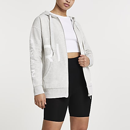 Grey RI Active zip through hoodie