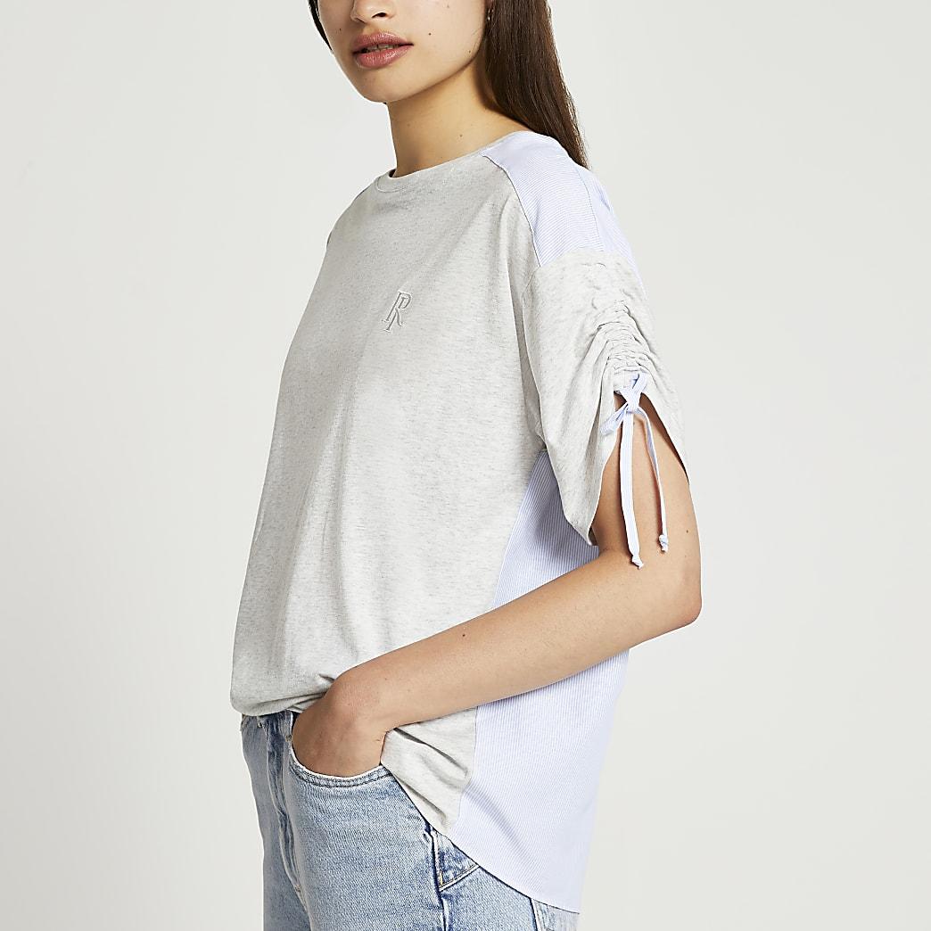 Grey RI back split colour block t-shirt