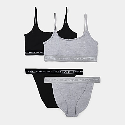 Grey RI bralette and brief set pack of 2
