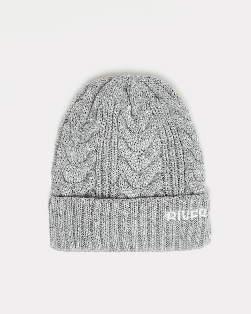 Grey RI branded cable knit beanie hat