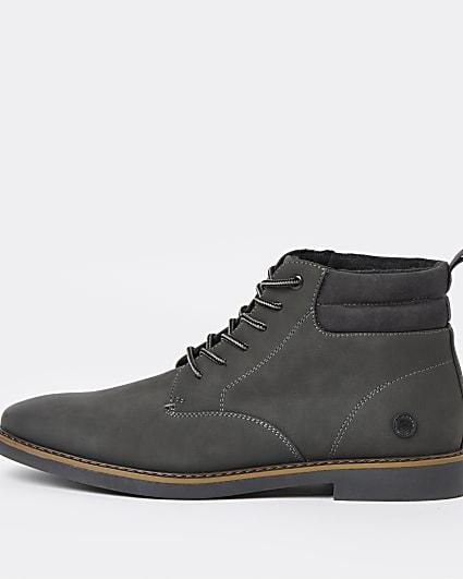 Grey RI branded lace up chukka boots