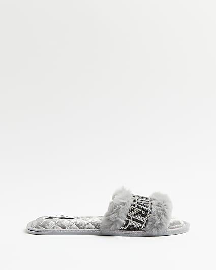 Grey RI branded open toe slippers