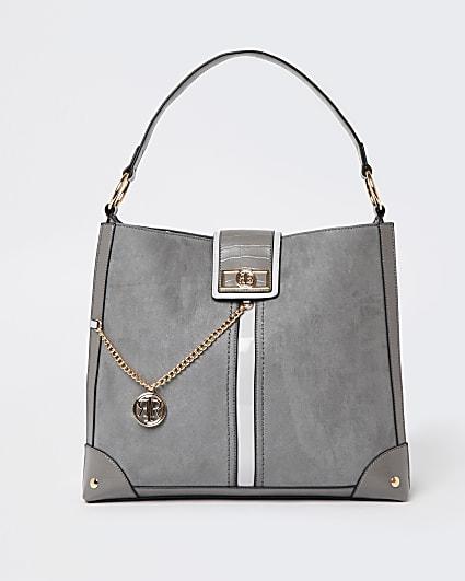 Grey RI branded oversized shoulder bag