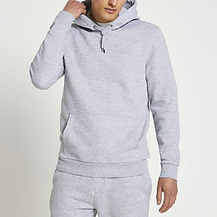 Grey RI branded slim fit hoodie