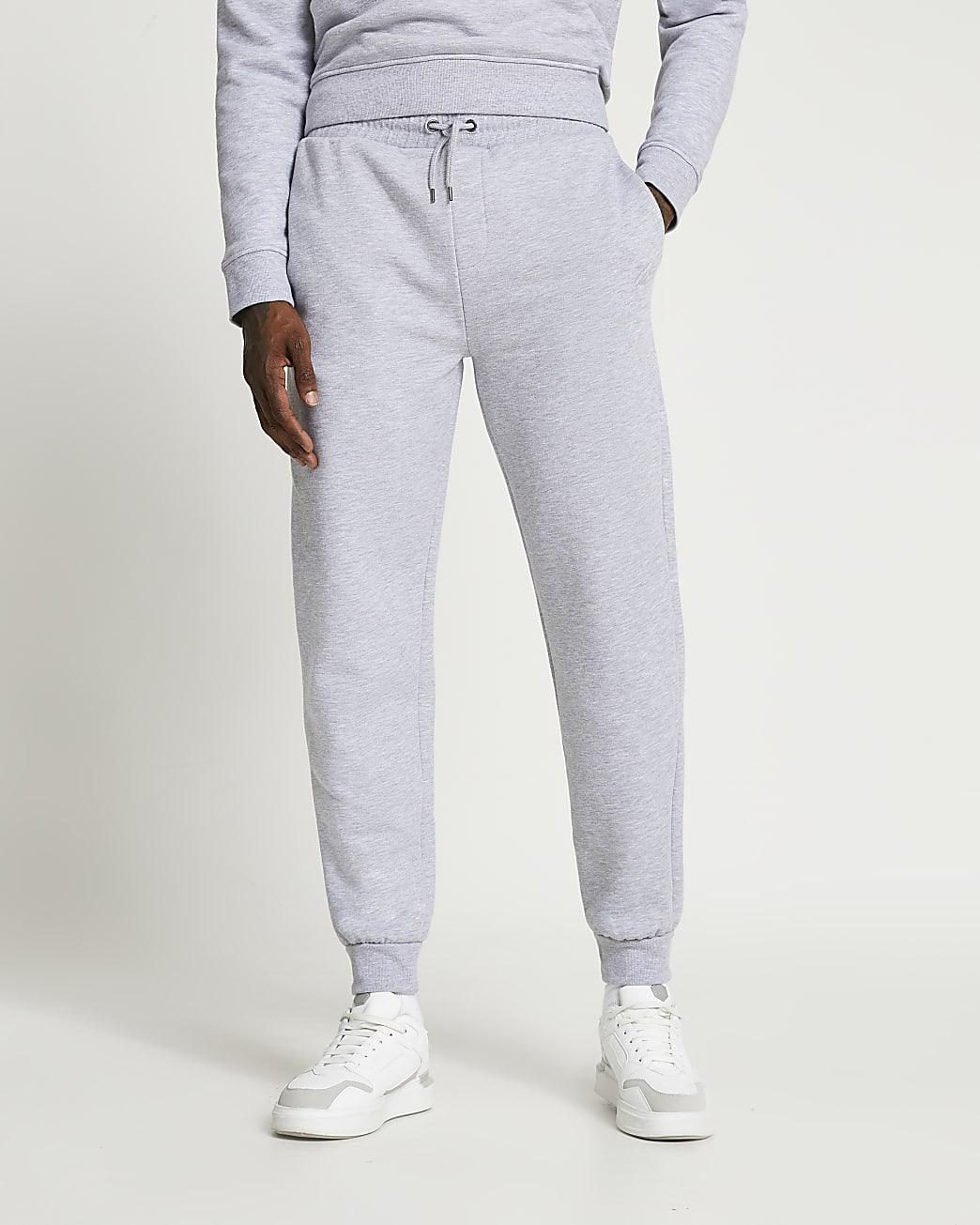 Grey RI branded slim fit tapered joggers