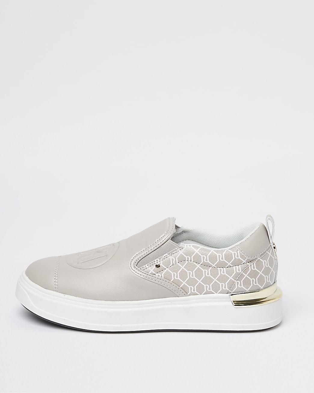 Grey RI branded slip on trainers