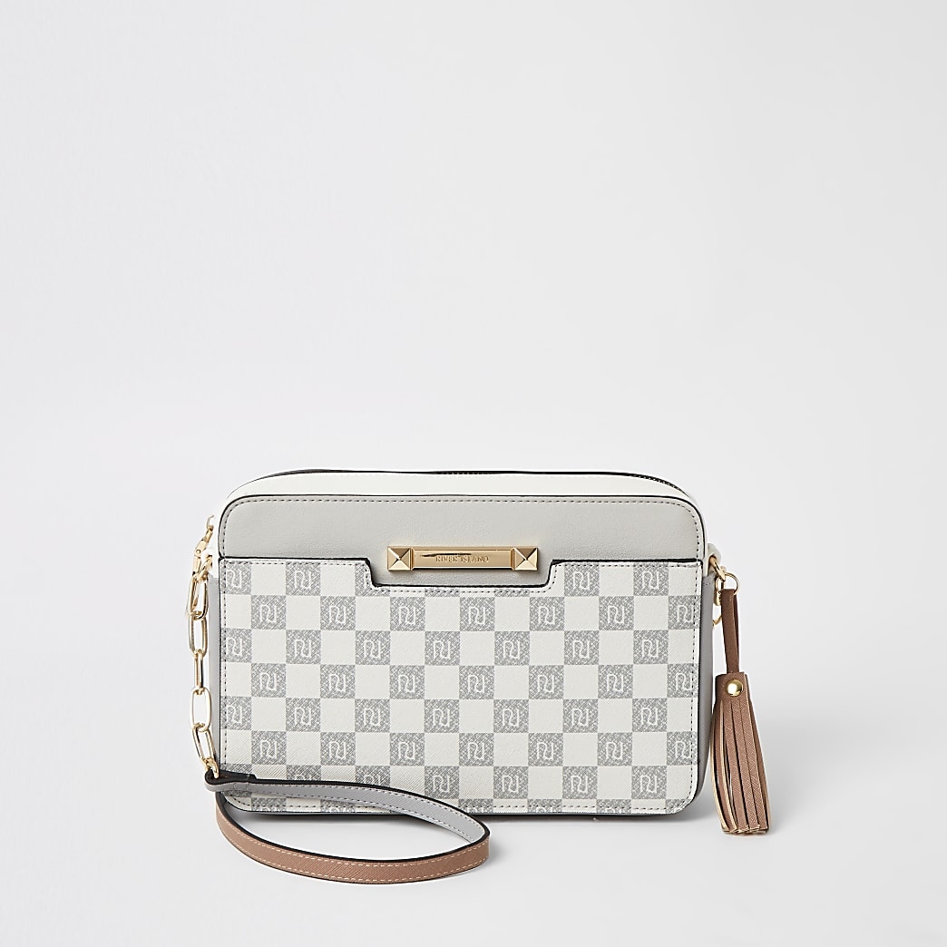 Grey RI checkerboard boxy cross body bag