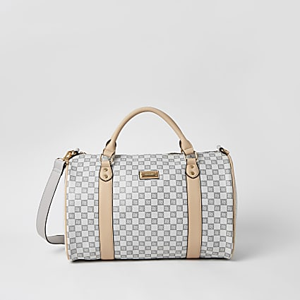 Grey RI checkerboard duffle bag