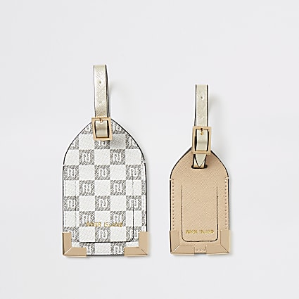 Grey RI checkerboard luggage tag set