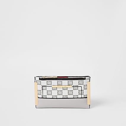 Grey RI checkerboard mini fold out purse