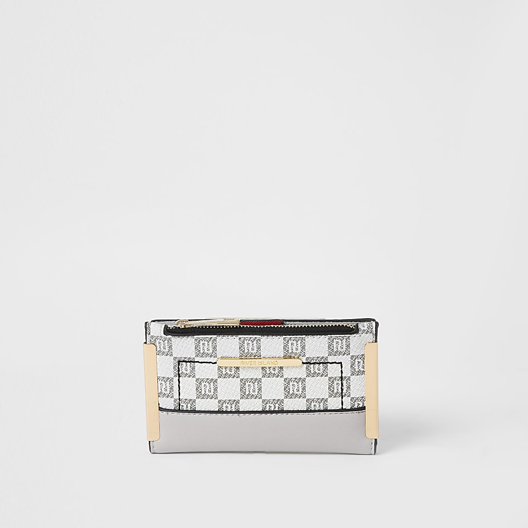 Grey RI checkerboard mini fold out purse