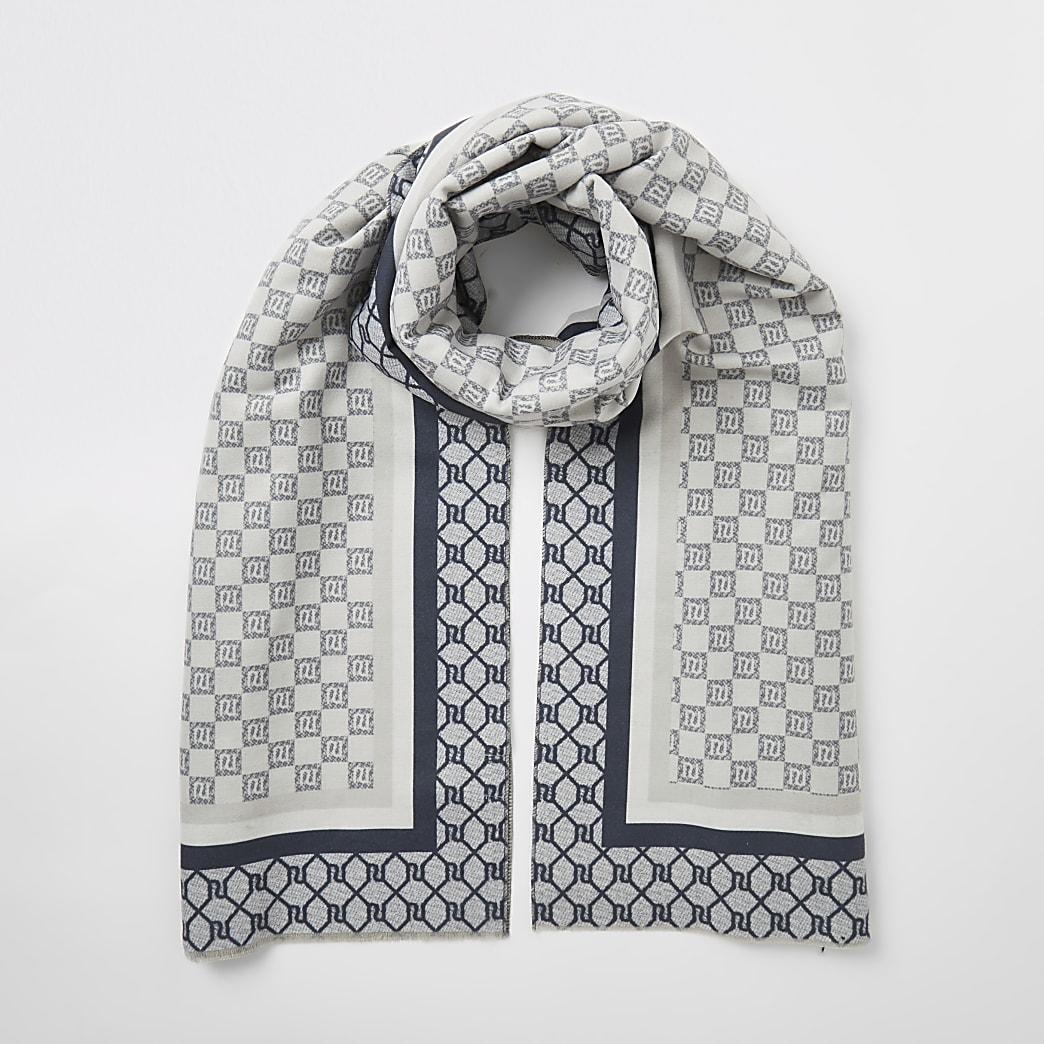 Grey RI checkerboard monogram scarf