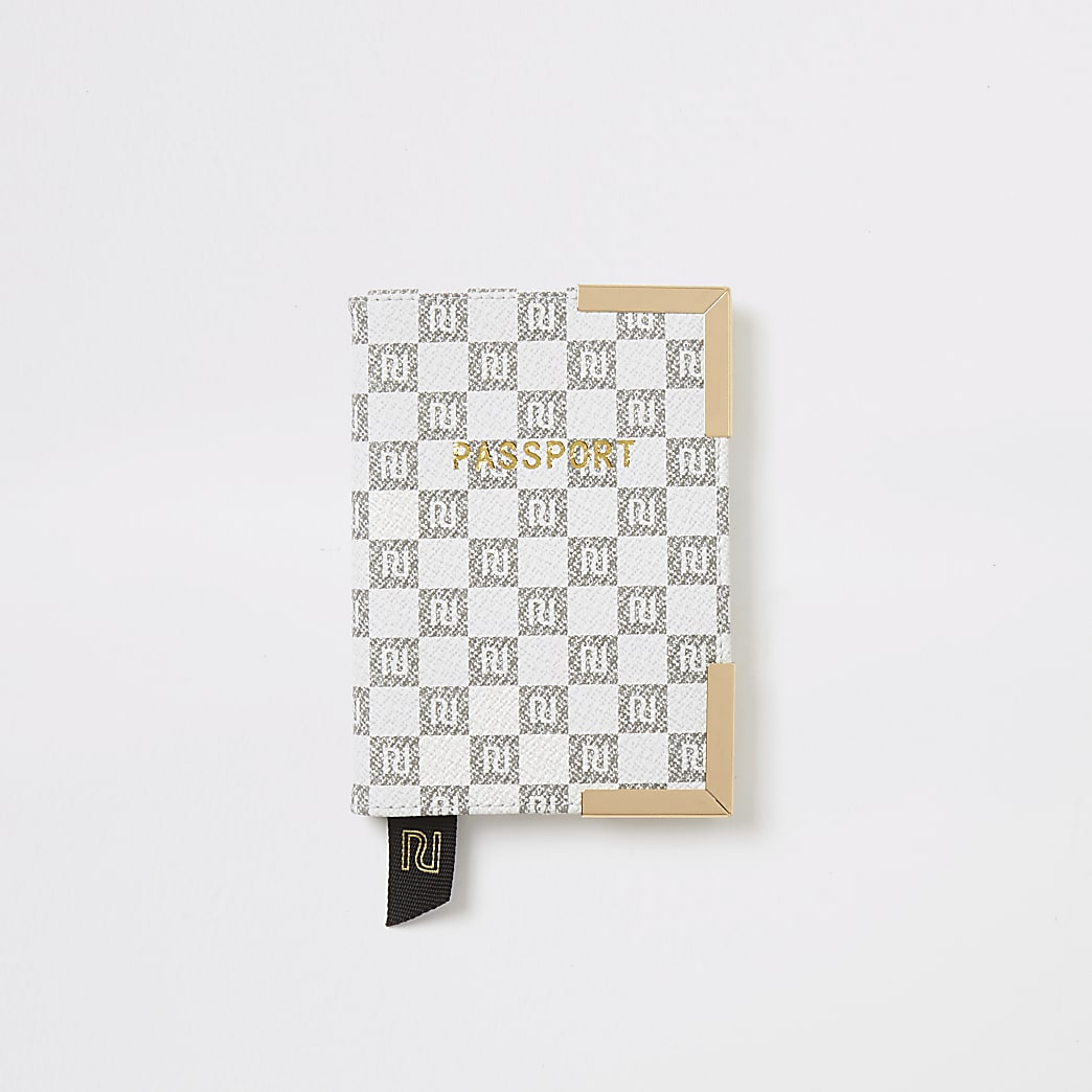 Grey RI checkerboard passport holder