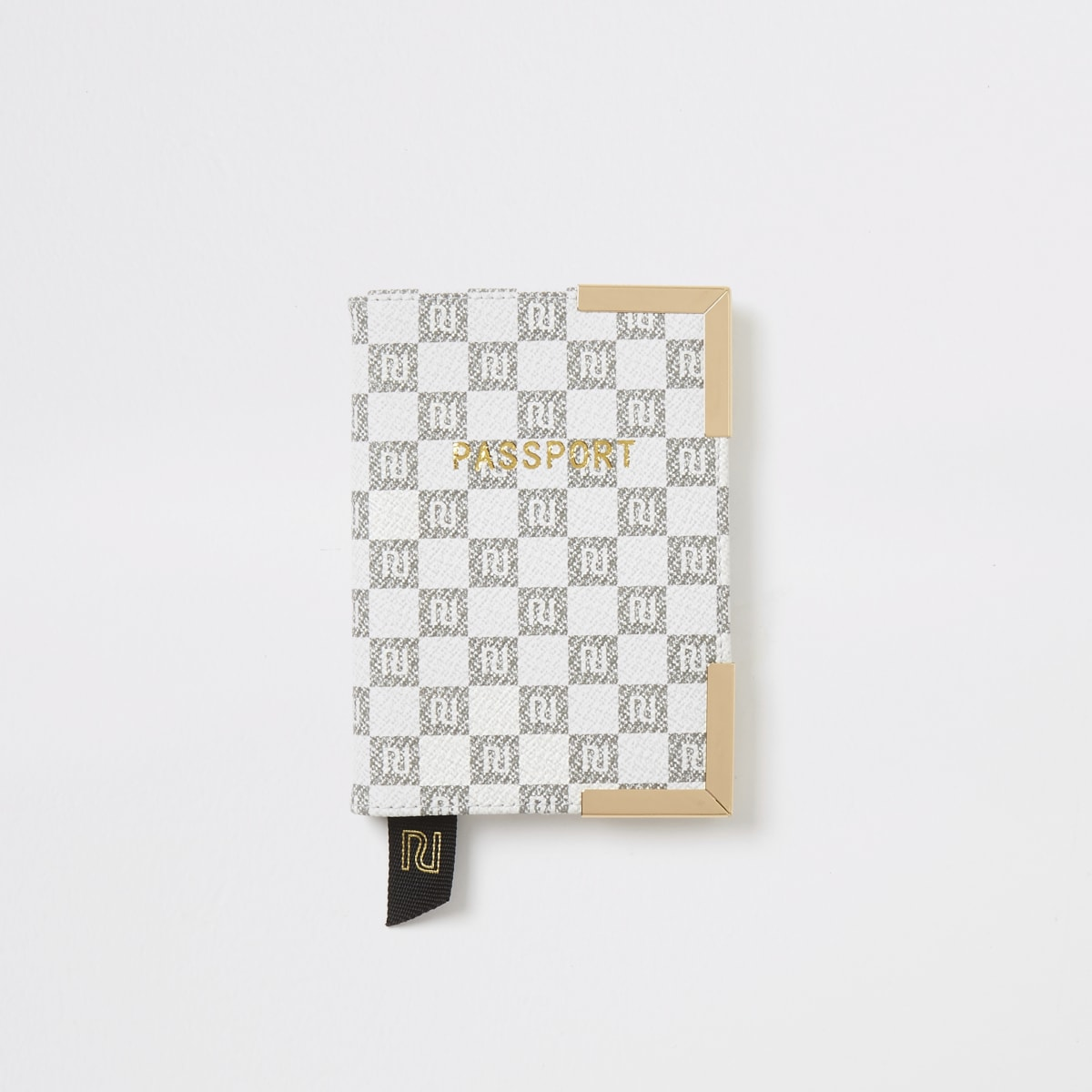 Grey RI checkerboard passport holder
