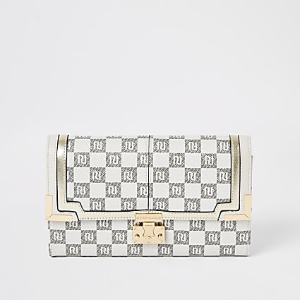 Grey RI checkerboard travel wallet