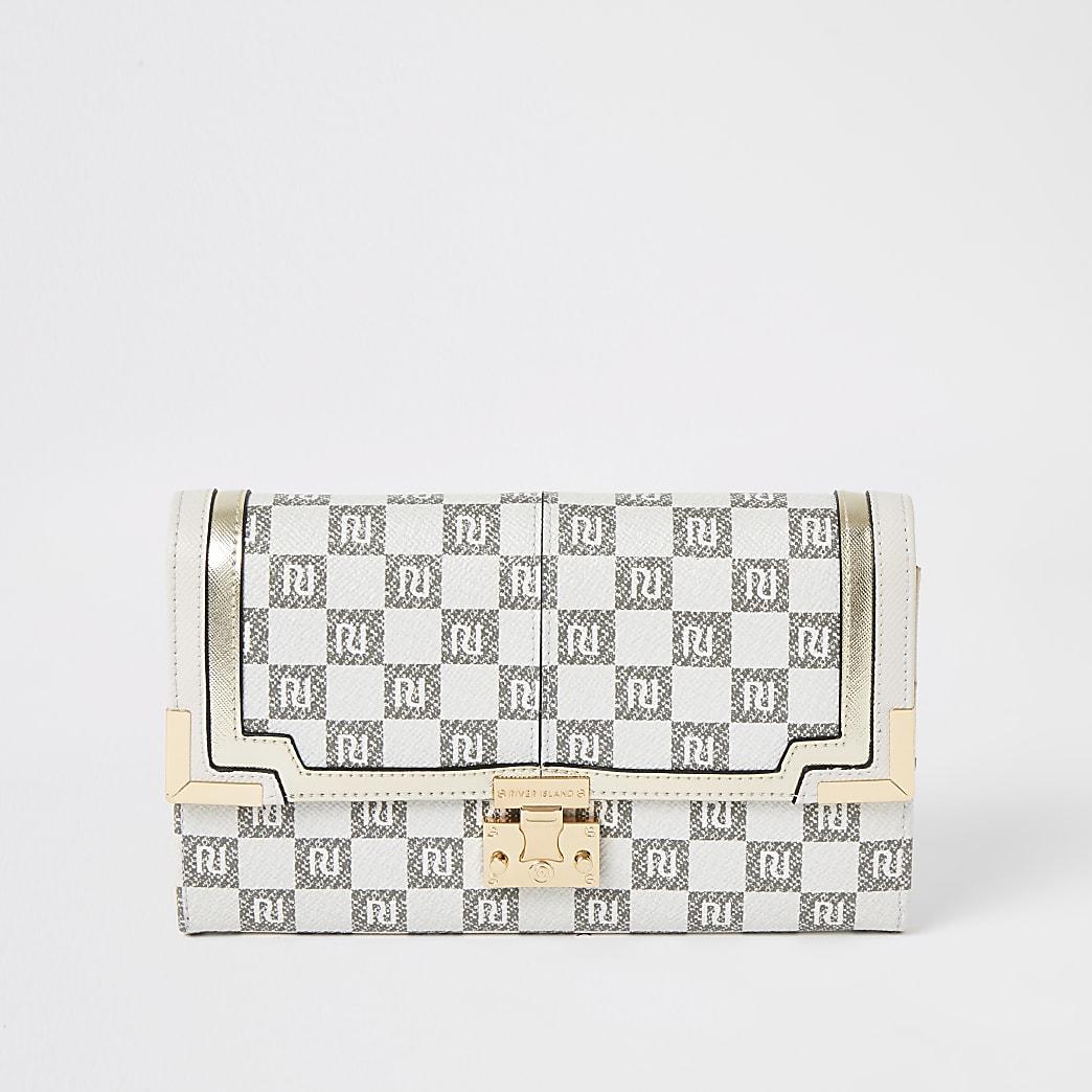 Grey RI checkerboard travel wallet