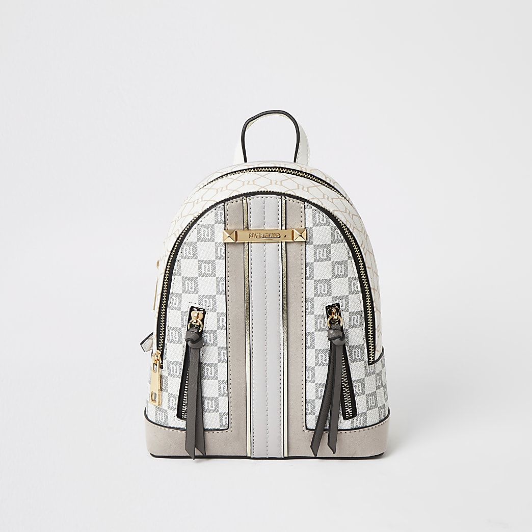 Grey RI checkerboard zip front backpack