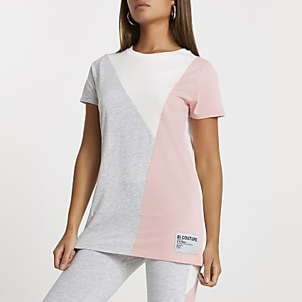 Grey RI couture colour block t-shirt