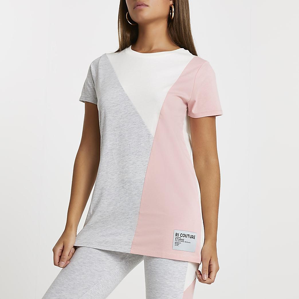 Grey RI couture colour block t-shirt