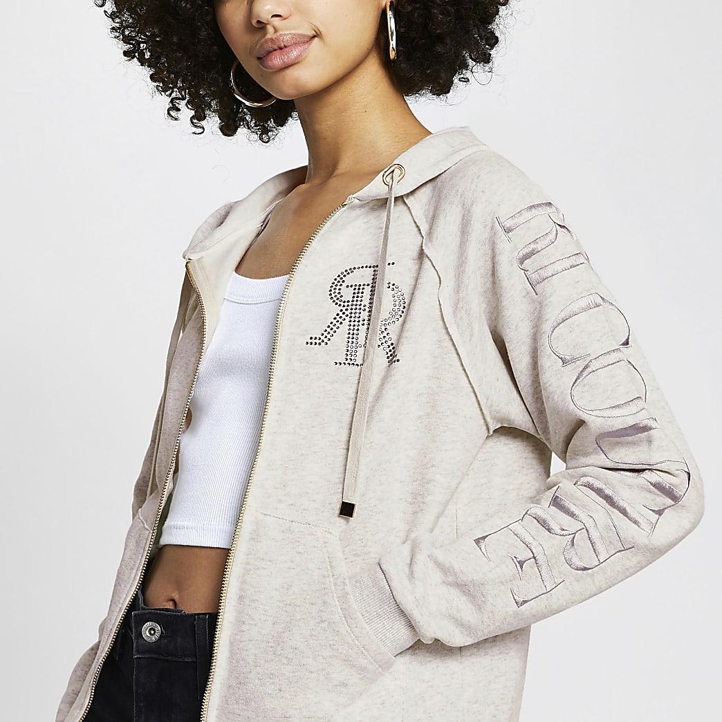 Grey 'RI Couture' zip through hoodie