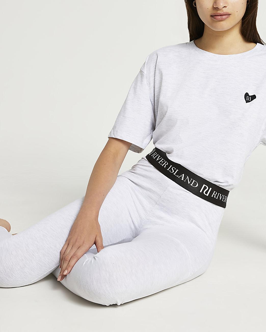 Grey RI crop t-shirt and leggings pyjama set