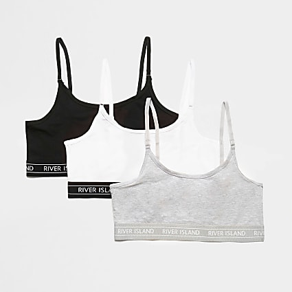 Grey RI cropped bralette pack of 3