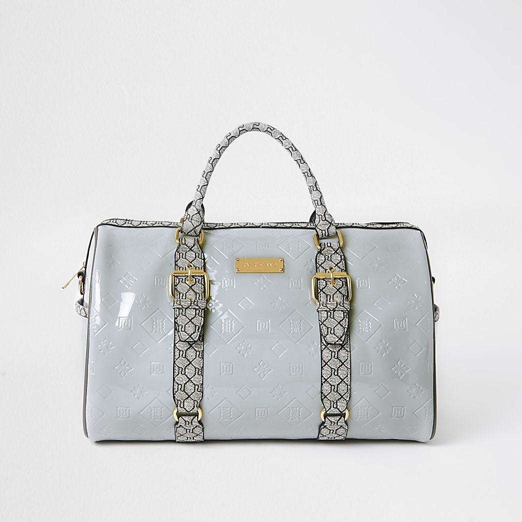 Grey RI Embossed barrel bag